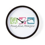 Peace, Love, Pekingese Wall Clock