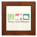 Peace, Love, Pekingese Framed Tile