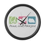 Peace, Love, Pekingese Large Wall Clock