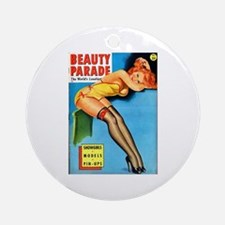 Beauty Parade Pin Up Girl in Yellow Ornament (Roun