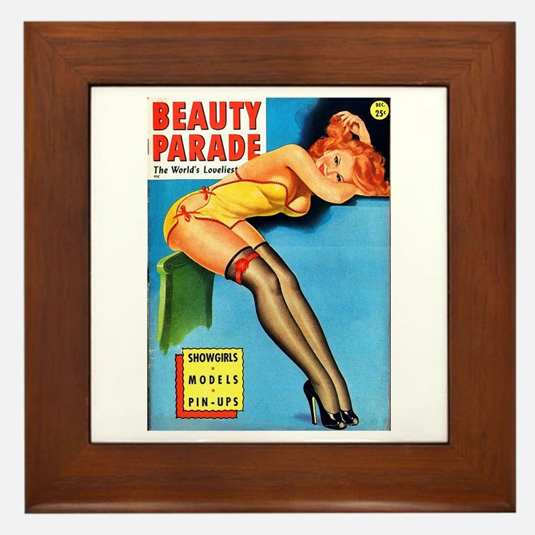 Beauty Parade Pin Up Girl in Yellow Framed Tile