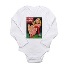 Beauty Parade Blonde Pin Up in Red Long Sleeve Inf