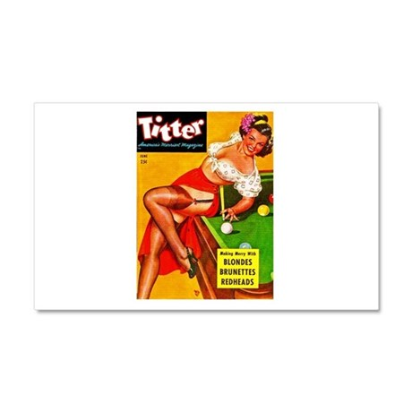 Titter Pool Table Vintage Pin Up Girl Car Magnet 2