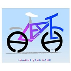 blue pink bike Framed Print
