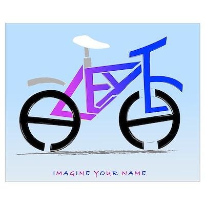 blue pink bike Poster