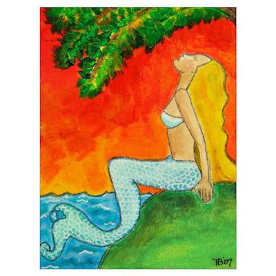 Mermaid Sunrise Poster