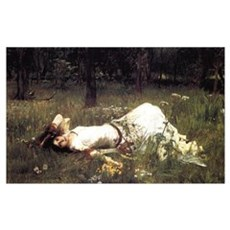 Ophelia Lying in the Meadow Poster