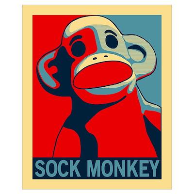 Sock Monkey Hope wall art Poster