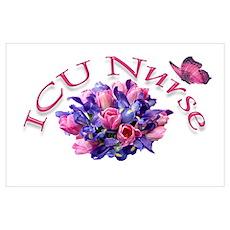 ICU Nurse Iris & Tulips Poster