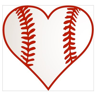 I Heart Baseball Graphic Poster