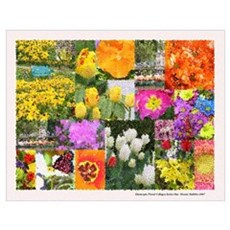 Colorful Floral Collage -Mosaic Bubbly Poster
