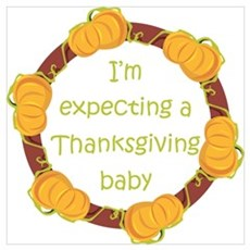 Expecting Thanksgiving Baby Framed Print