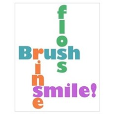 Brush Floss Rinse Smile Poster