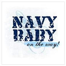 Navy Baby On The Way (v2) Framed Print