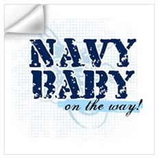 Navy Baby On The Way (v2) Wall Decal