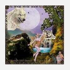 Funny White wolf Tile Coaster