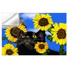 BLACK CAT SUNFLOWERS Wall Decal