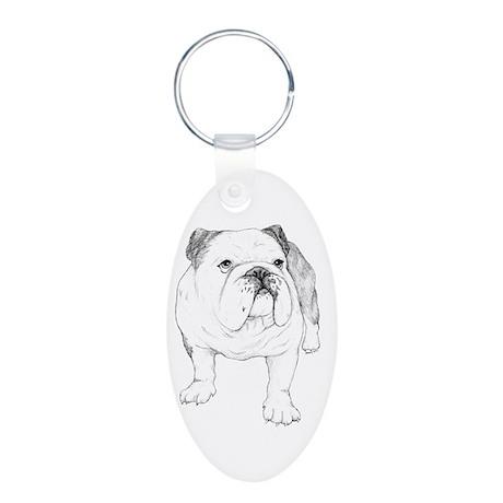 Bulldog Drawing Aluminum Oval Keychain