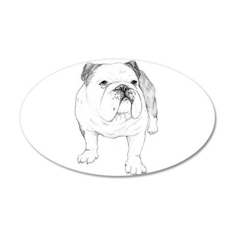 Bulldog Drawing 38.5 x 24.5 Oval Wall Peel