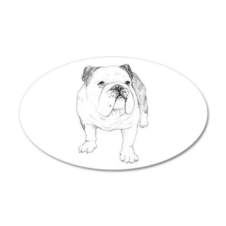 Bulldog Drawing 22x14 Oval Wall Peel