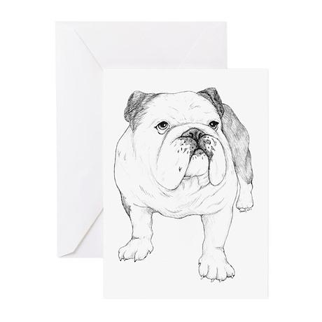 Bulldog Drawing Greeting Cards (Pk of 10)
