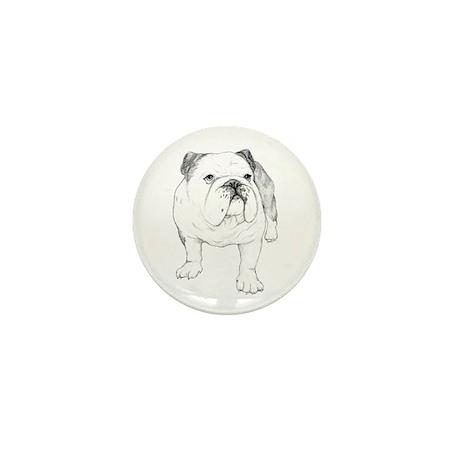 Bulldog Drawing Mini Button