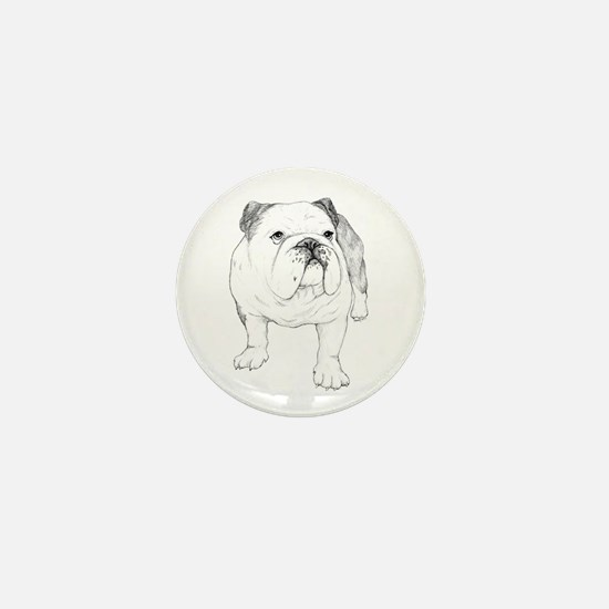 Bulldog Drawing Mini Button