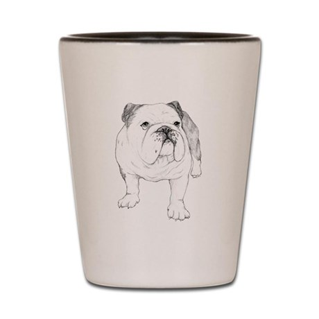 Bulldog Drawing Shot Glass