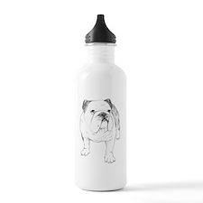 Bulldog Drawing Water Bottle