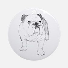 Bulldog Drawing Ornament (Round)