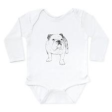 Bulldog Drawing Long Sleeve Infant Bodysuit