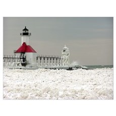 St. Joseph Lighthouse and Ice Poster