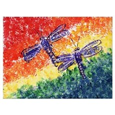 Rainbow Dragonflies Canvas Art