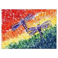 Rainbow Dragonflies Poster
