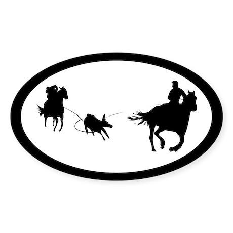 Team Roping Oval Sticker