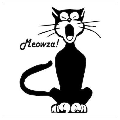 Meowza! 1950's Cartoon Cat Poster
