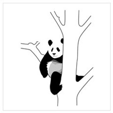 Panda Bear In Tree Poster