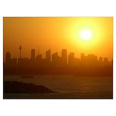 Sydney City Skyline Sunset Poster