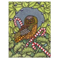 Christmas Owl Canvas Art