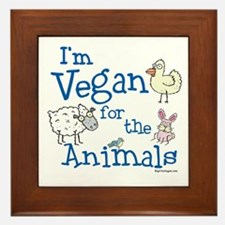 Vegan for Animals Framed Tile