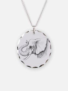 Elephant profile drawing Necklace