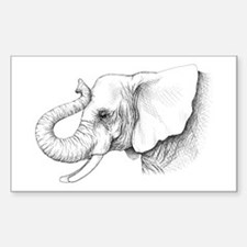 Elephant profile drawing Sticker (Rectangle)
