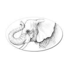 Elephant profile drawing 22x14 Oval Wall Peel