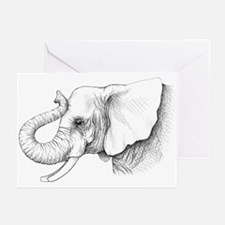 Elephant profile drawing Greeting Cards (Pk of 20)