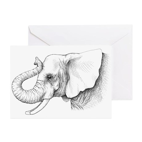 Elephant profile drawing Greeting Cards (Pk of 10)