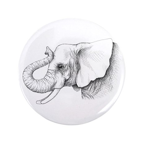 """Elephant profile drawing 3.5"""" Button"""