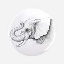 "Elephant profile drawing 3.5"" Button"