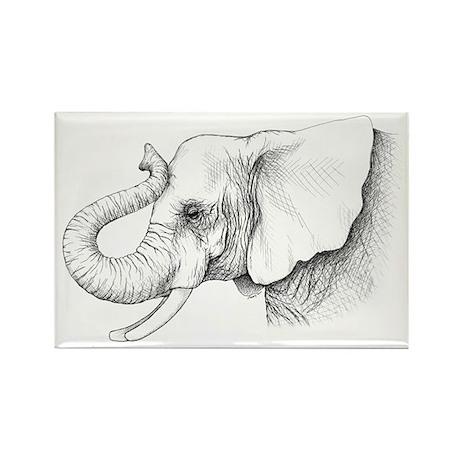 Elephant profile drawing Rectangle Magnet