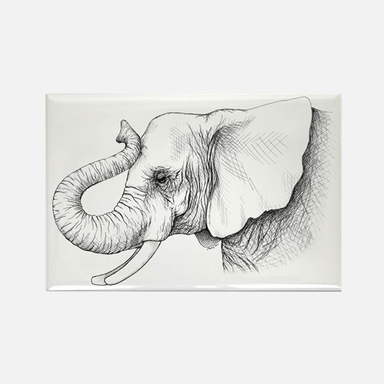 Elephant profile drawing Rectangle Magnet