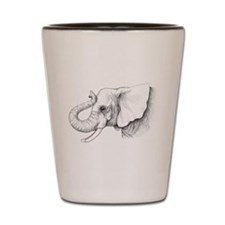 Elephant profile drawing Shot Glass